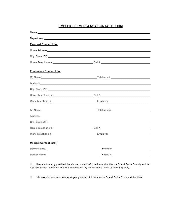 Employee Emergency Contact form Template 54 Free Emergency Contact forms [employee Student]