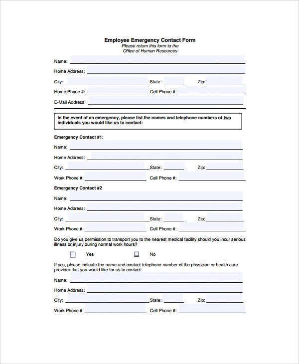 Employee Emergency Contact form Template 8 Emergency Contact form Samples Examples Templates