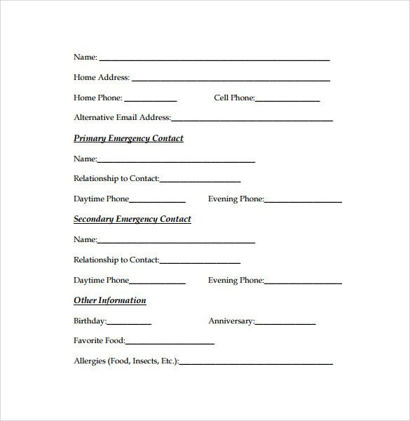 Employee Emergency Contact form Template Emergency Contact forms 11 Download Free Documents In