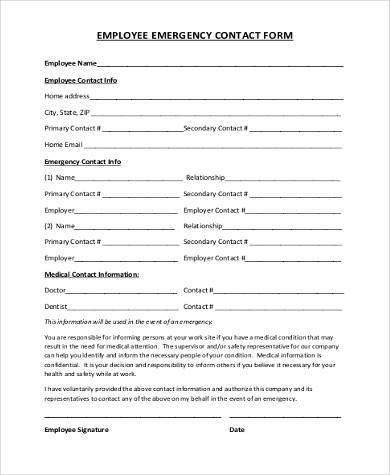 Employee Emergency Contact form Template Employee Emergency Contact Printable form to Pin