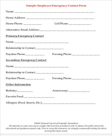Employee Emergency Contact form Template Sample Employee Emergency Contact form 7 Examples In