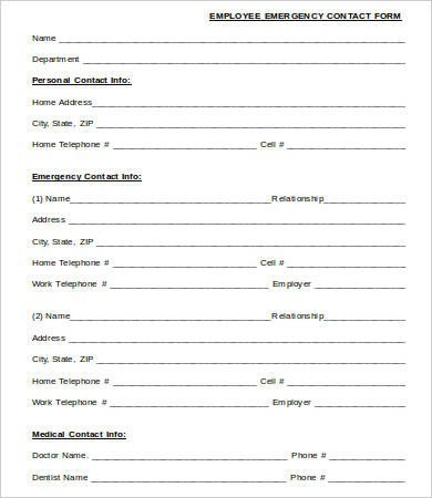 Employee Emergency Contact forms 11 Emergency Contact forms Pdf Doc