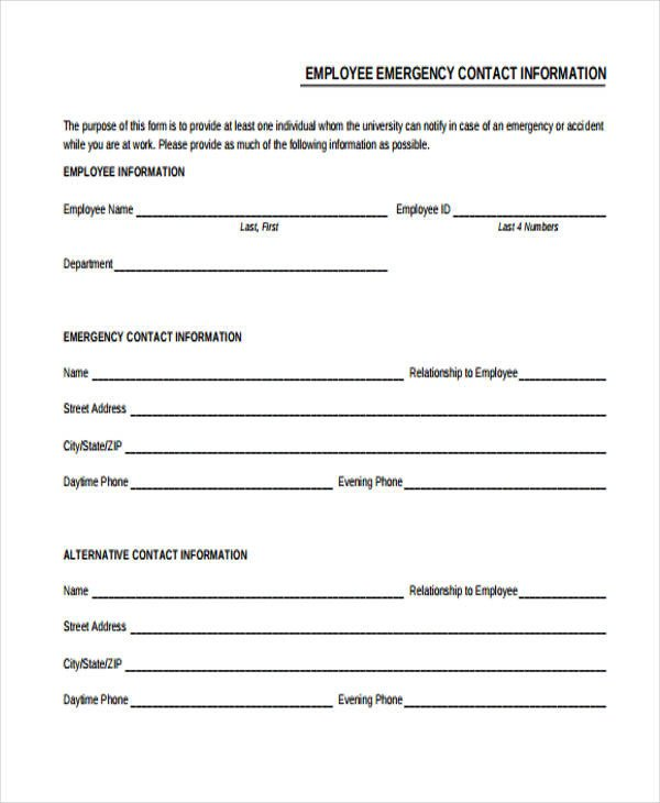 Employee Emergency Contact forms 32 Emergency Contact form Example