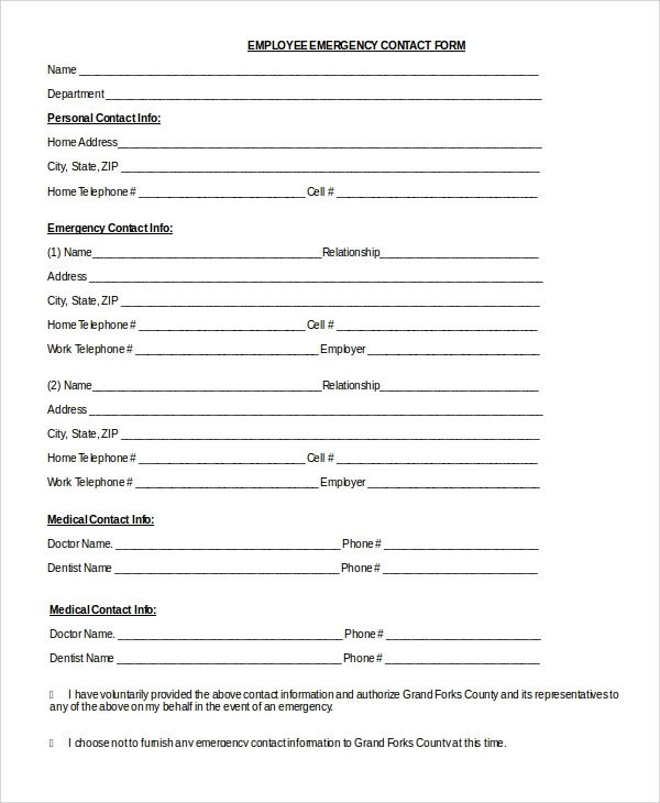 Employee Emergency Contact forms 8 Sample Emergency Contact forms Pdf Doc