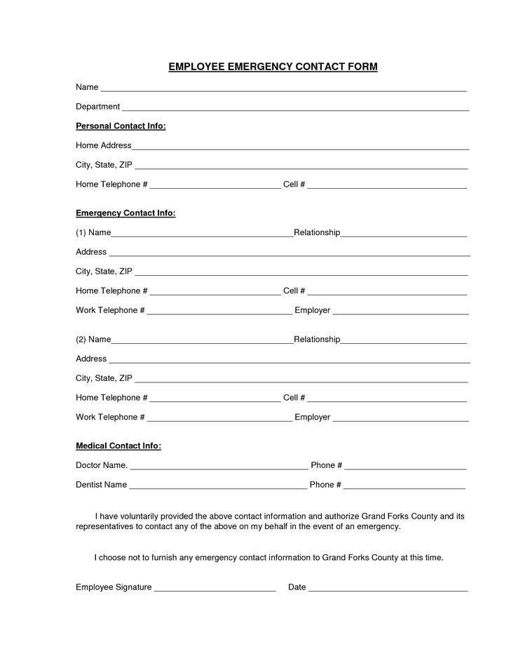 Employee Emergency Contact forms Download A Free Emergency Contact form and Emergency Card