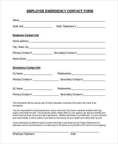 Employee Emergency Contact forms Employee Emergency Contact form Samples 8 Free