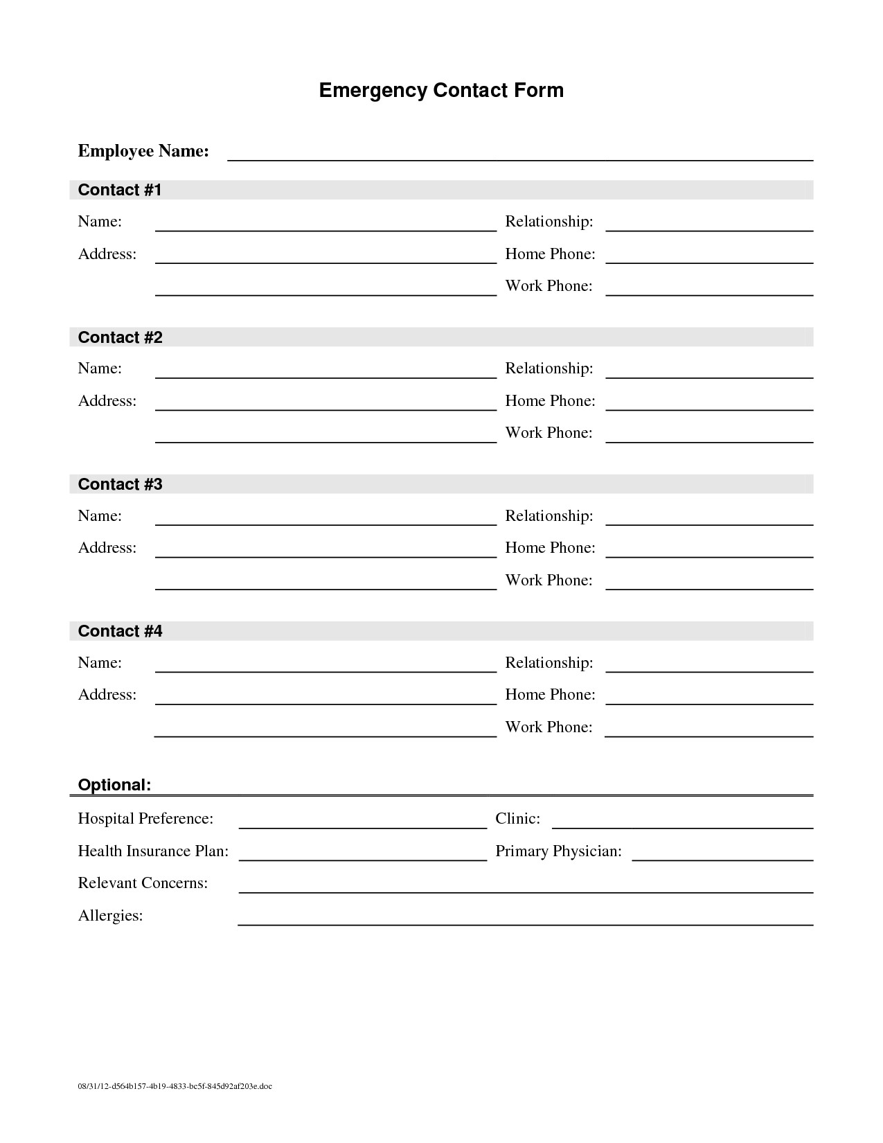 Employee Emergency Contact forms Employee Emergency Contact Printable form to Pin