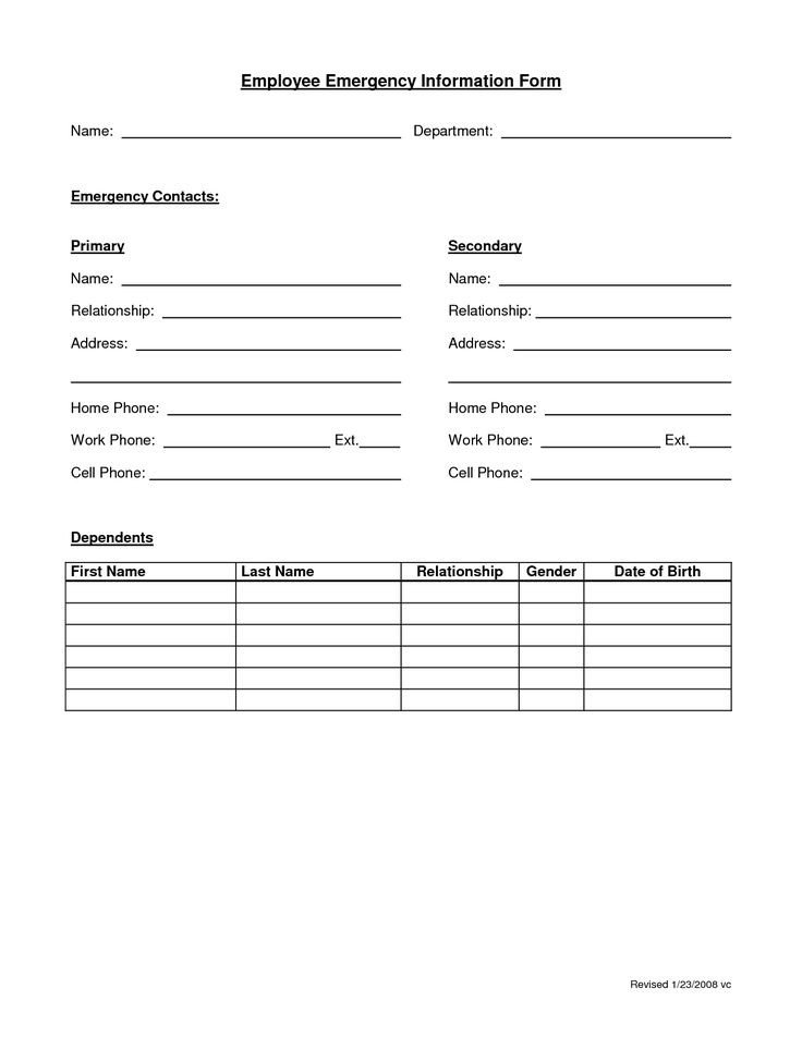 Employee Emergency Contact forms Employee Emergency form Employee forms