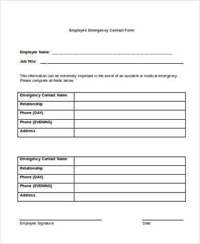 Employee Emergency Contact forms Sample Employee Emergency Contact form 6 Free Documents
