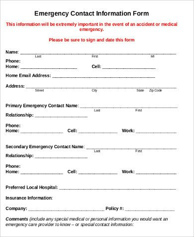 Employee Emergency Contact forms Sample Employee Emergency Contact form 7 Examples In