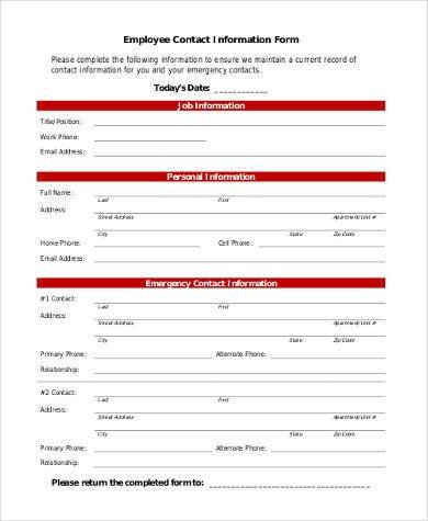 Employee Emergency Contact forms Sample Employee Information forms 8 Free Documents In