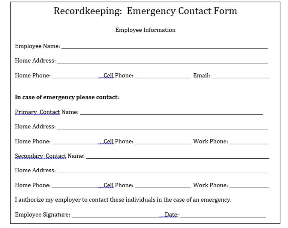 Employee Emergency Contact forms why Your Pany Needs to Keep Emergency Contact