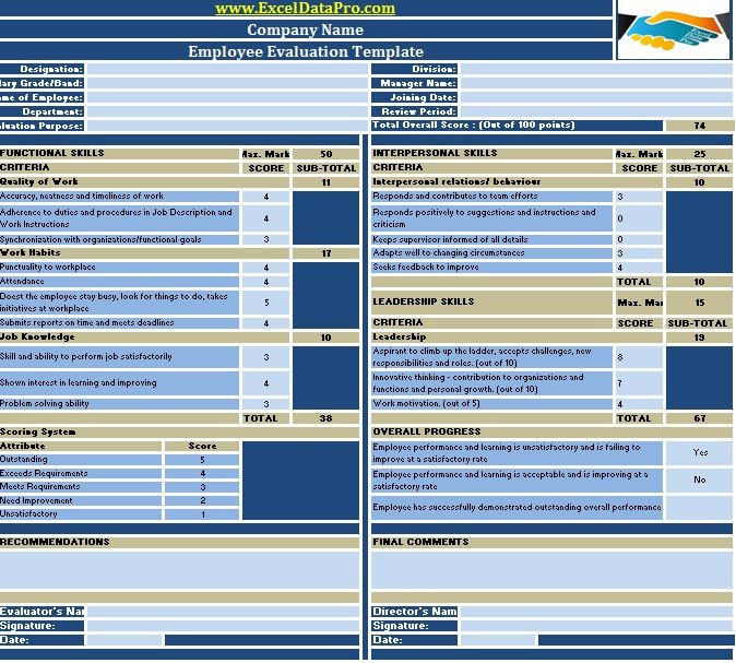 Employee Evaluation Template Excel Download Employee Evaluation or Employee Performance