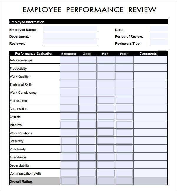 Employee Evaluation Template Excel Employee Review Template 6 Download Free Documents In