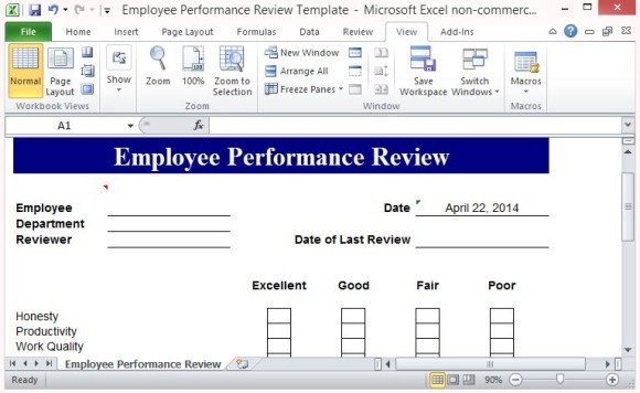 Employee Evaluation Template Excel Free Performance Review Template form for Word 2007
