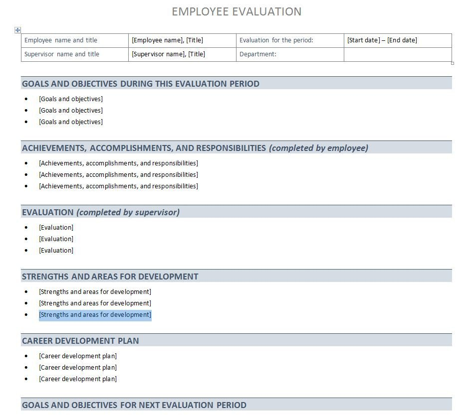 Employee Evaluation Template Excel Performance Evaluation Template