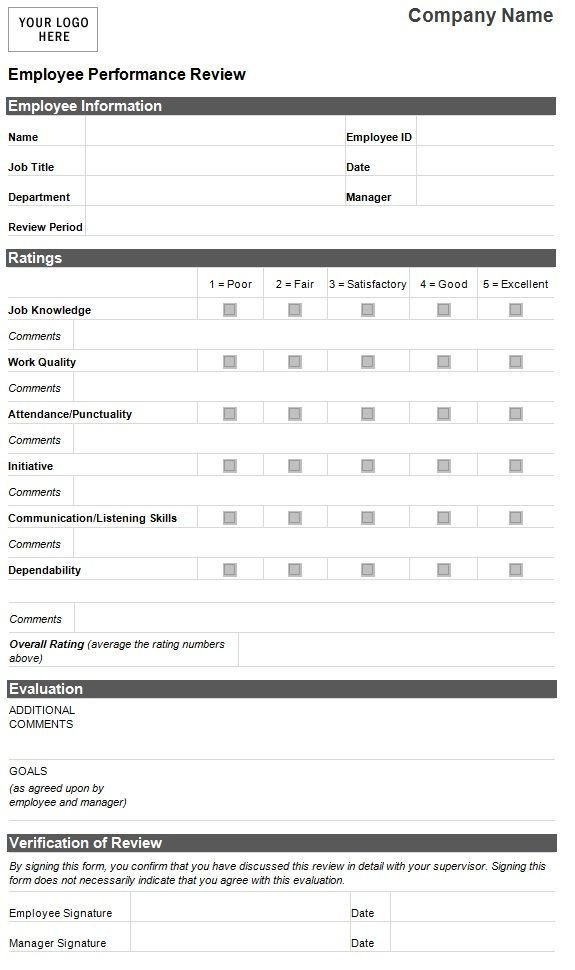 Employee Evaluation Template Excel Pin by Itz My On Human Resource Management