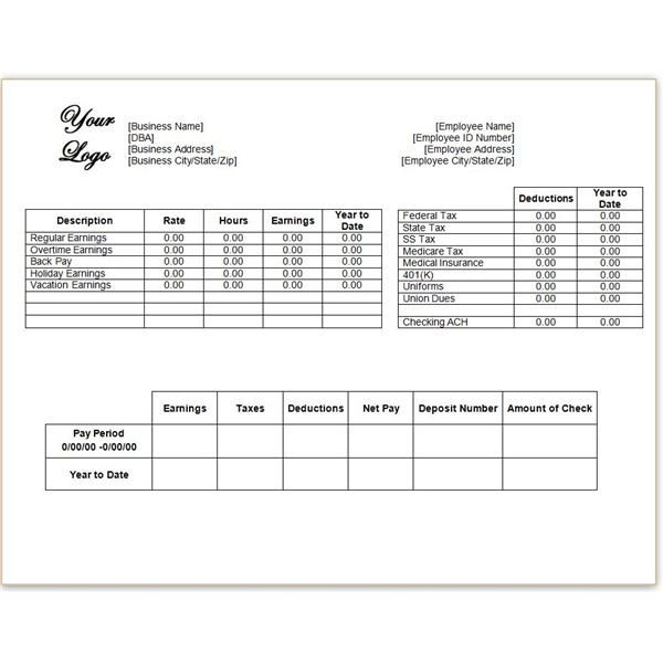 Employee Pay Stub Template Download A Word or Excel Pay Stub Template