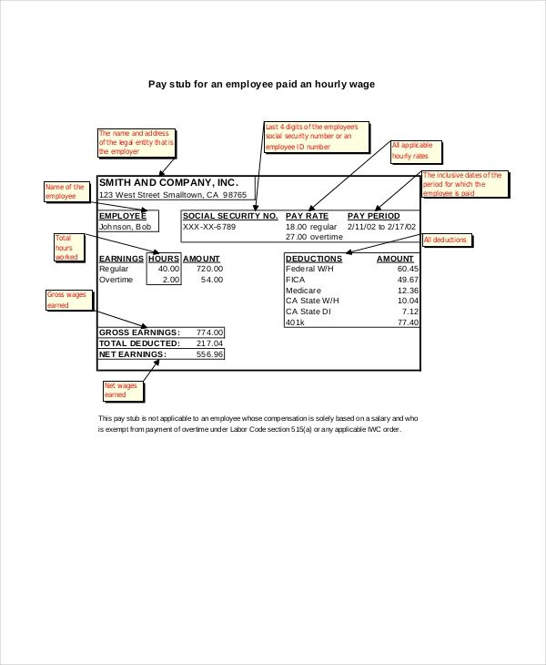 Employee Pay Stub Template Pay Stub Template 7 Free Word Pdf Documents Download