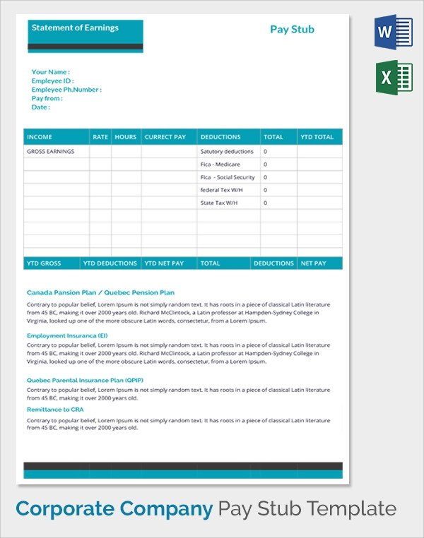 Employee Pay Stub Template Sample Pay Stub Template 24 Download Free Documents In