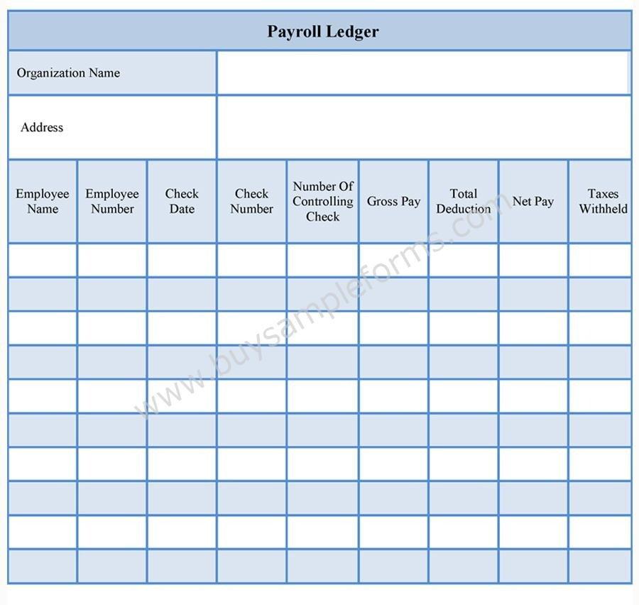 Employee Payroll Ledger Template Payroll Ledger form