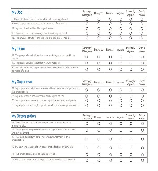 Employee Satisfaction Survey Template 25 Employee Surveys
