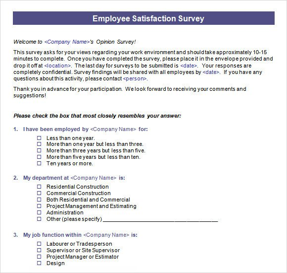 Employee Satisfaction Survey Template Employee Satisfaction Survey 16 Download Free Documents