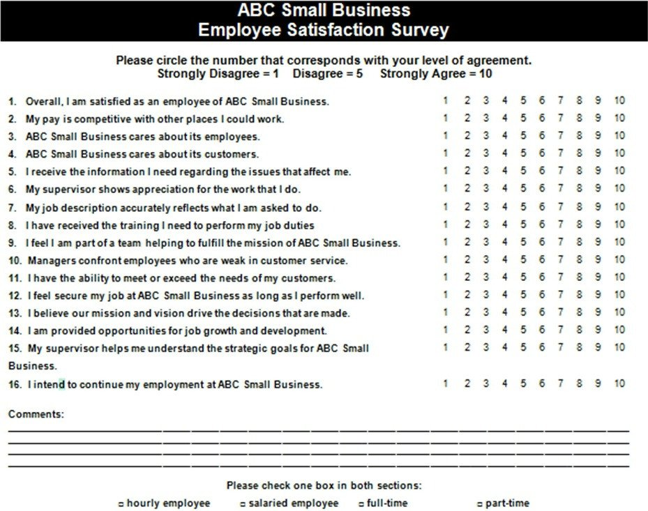 Employee Satisfaction Survey Template Employee Satisfaction Survey Example — the Thriving Small