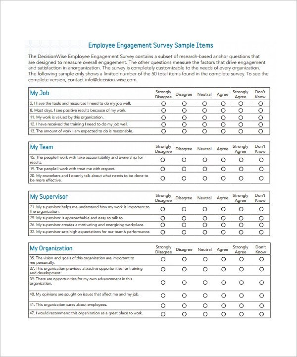 Employee Satisfaction Survey Template Sample Employee Survey Template 11 Free Documents In