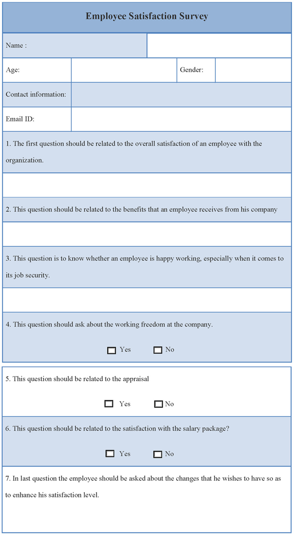 Employee Satisfaction Survey Template Survey Template for Employee Satisfaction Sample Of