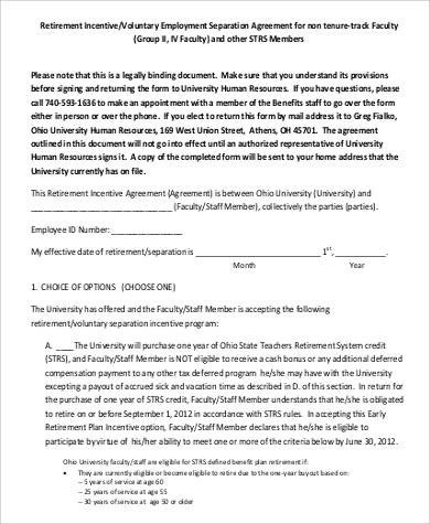 Employee Separation Agreement Template 54 Employment Agreement Samples Word Pdf