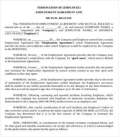 Employee Separation Agreement Template 9 Simple Employment Separation Agreement Templates Word