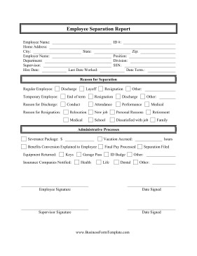 Employee Separation Agreement Template Employee Separation Report Template