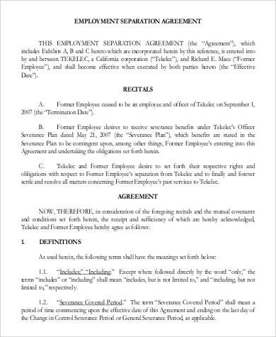Employee Separation Agreement Template Employment Agreements In Pdf