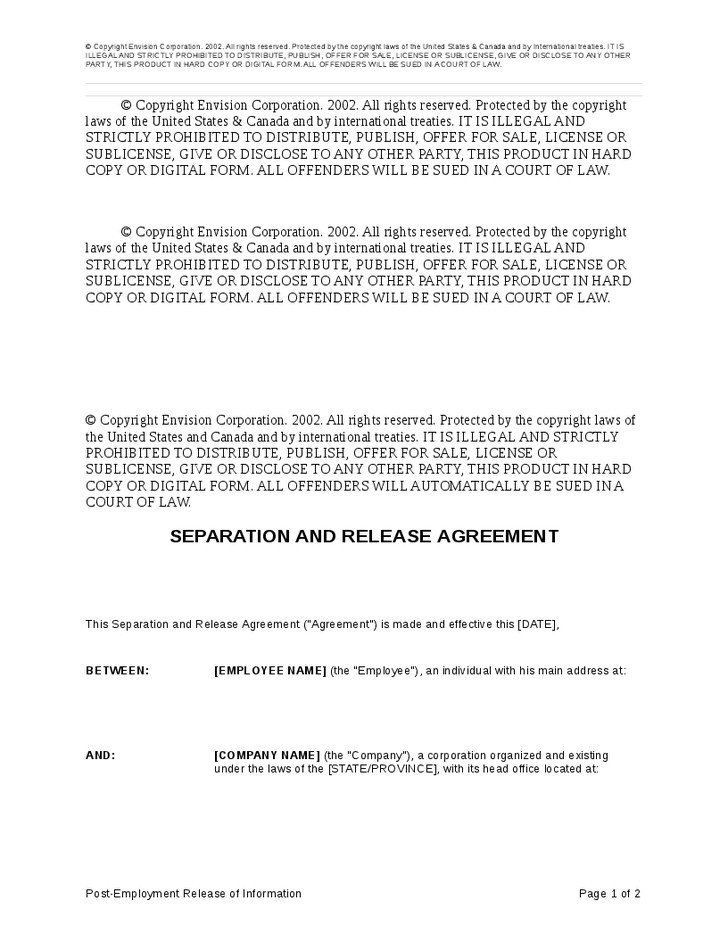 Employee Separation Agreement Template Employment Separation Agreement Sample Regular Employee