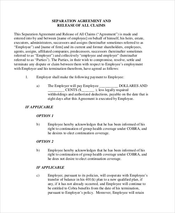 Employee Separation Agreement Template Sample Employment Separation Agreement 8 Documents In