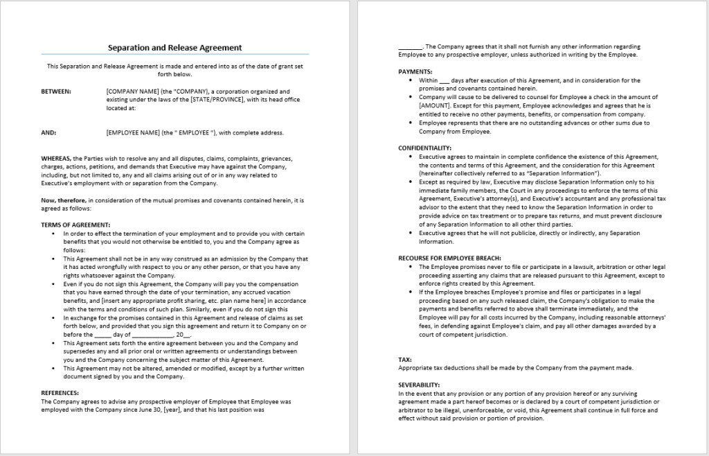 Employee Separation Agreement Template Separation and Release Agreement Template – Microsoft Word