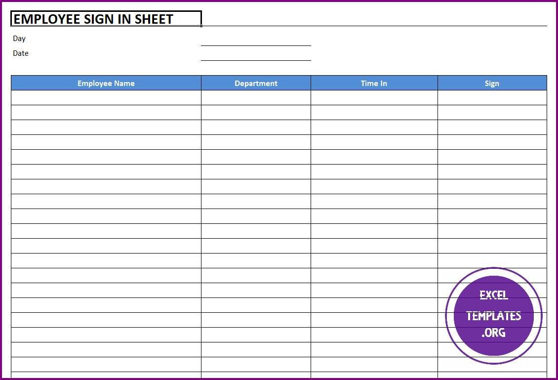 Employee Sign In Sheet Employee Sign In Sheet Template Excel Templates