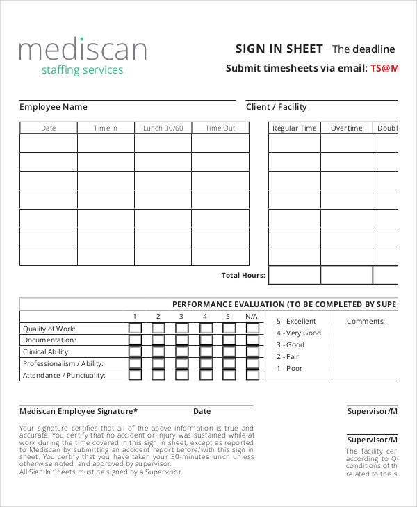 Employee Sign In Sheet Employee Sign In Sheets 8 Free Word Pdf Excel