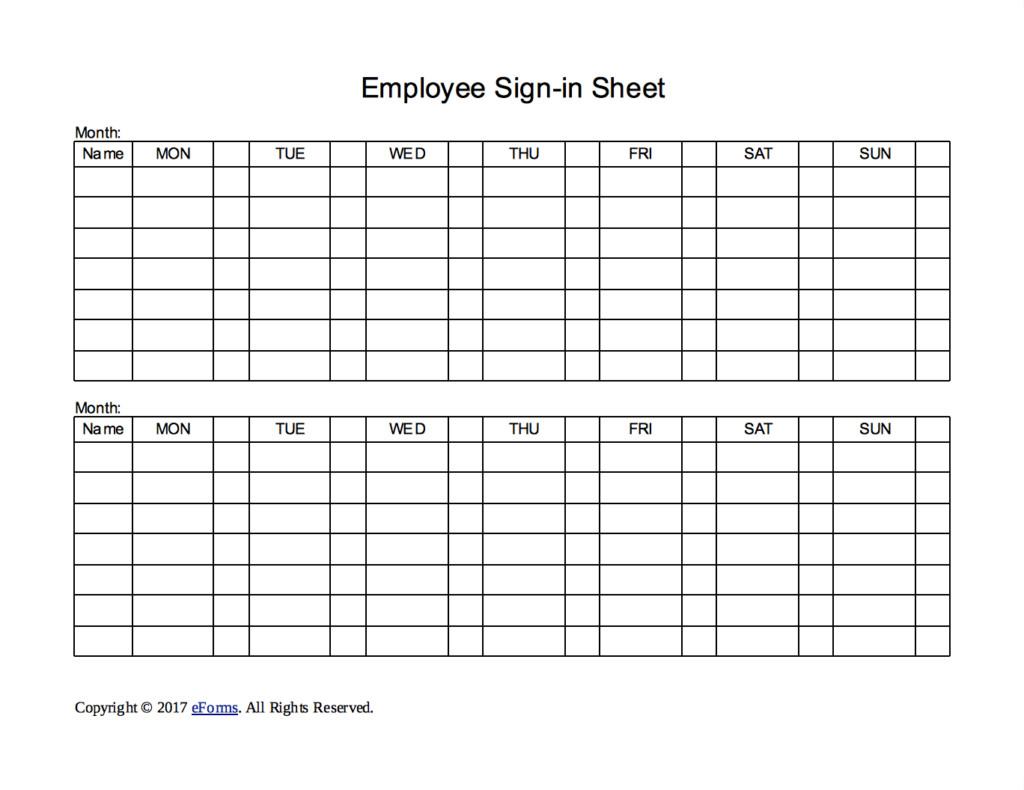 Employee Sign In Sheet Two Week Employee Sign In Sheet Template