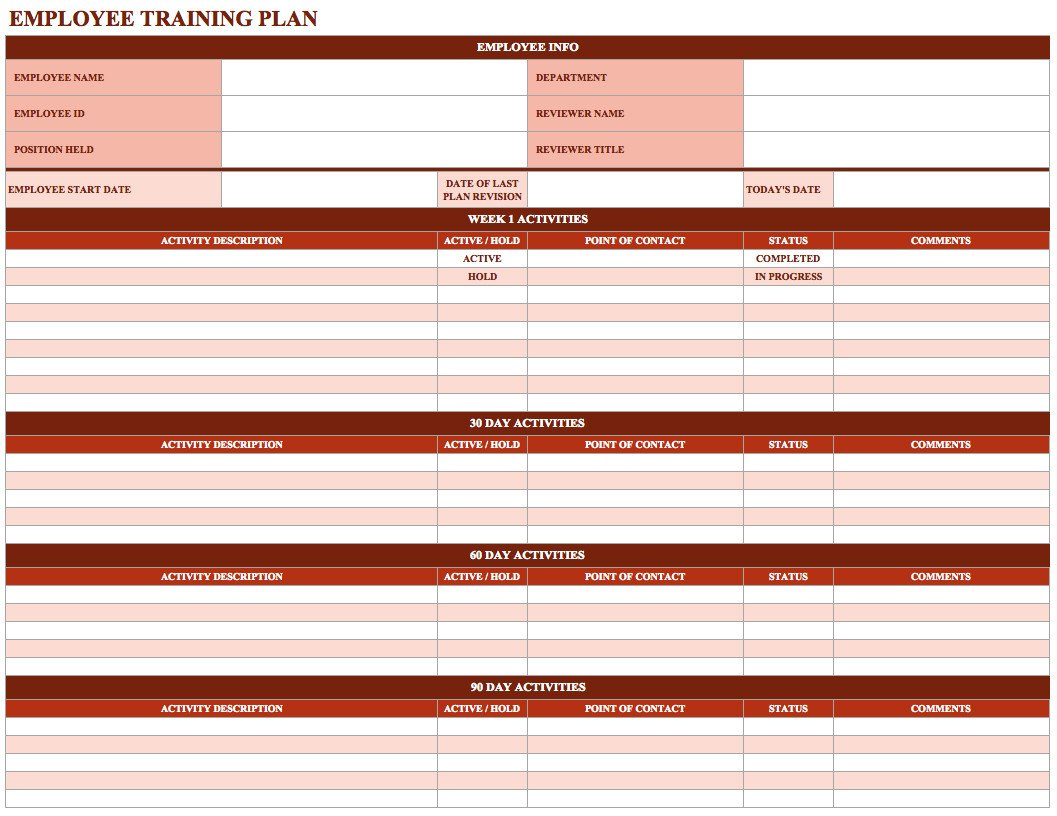 Employee Training Plan Template Employee Training Schedule Template In Ms Excel Excel