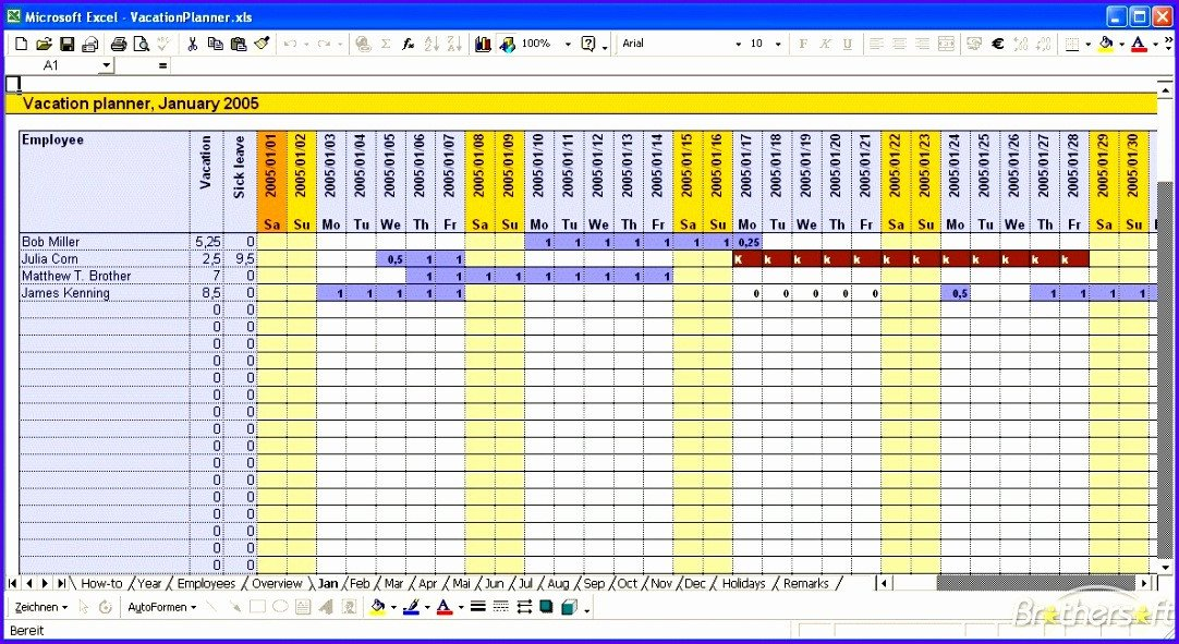 Employee Vacation Planner Template Excel 12 Vacation Calendar Template Excel Exceltemplates