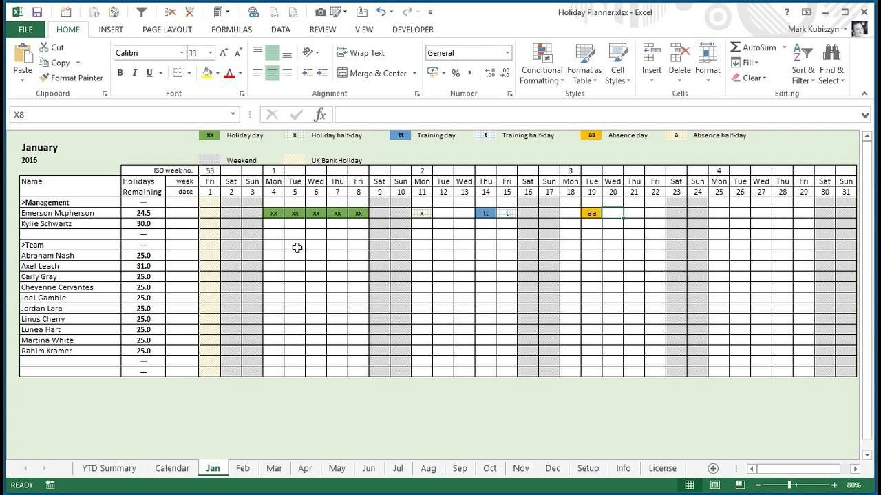 Employee Vacation Planner Template Excel Any Year Holiday Training & Absence Planner for Excel