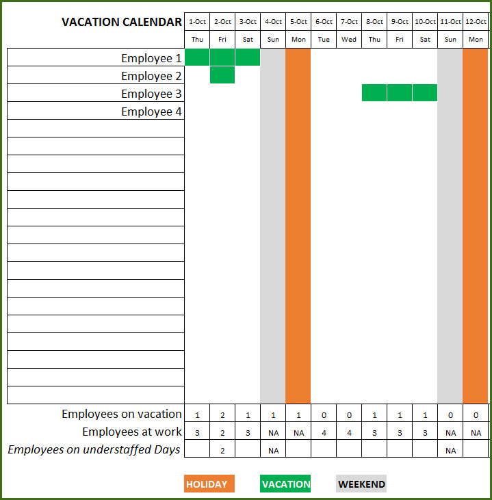 Employee Vacation Planner Template Excel Employee Vacation Planner Free Hr Excel Template for