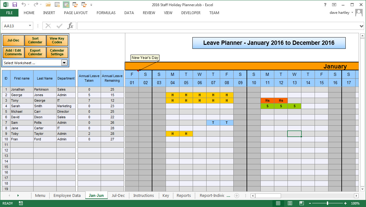 Employee Vacation Planner Template Excel Employee Vacation Planner Template Excel