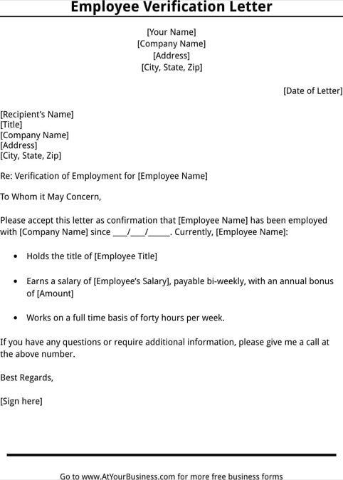 Employee Verification Letter Template 11 Employee Verification Letter Examples Pdf Word