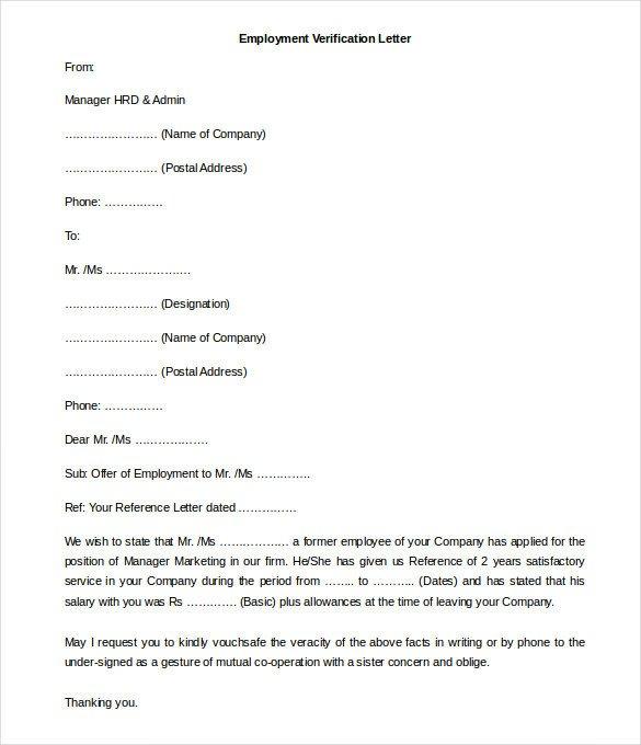 Employee Verification Letter Template 11 Free Employment Letter Template Doc Pdf