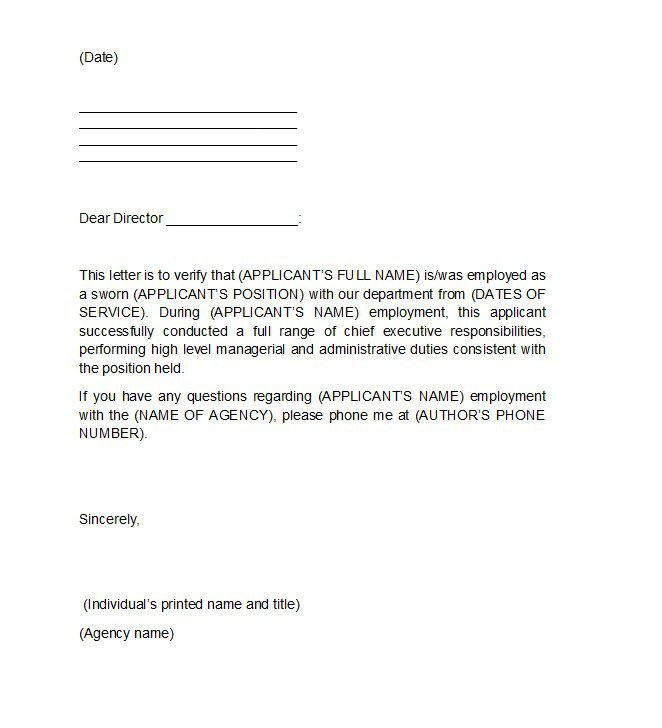 Employee Verification Letter Template 40 Proof Of Employment Letters Verification forms & Samples