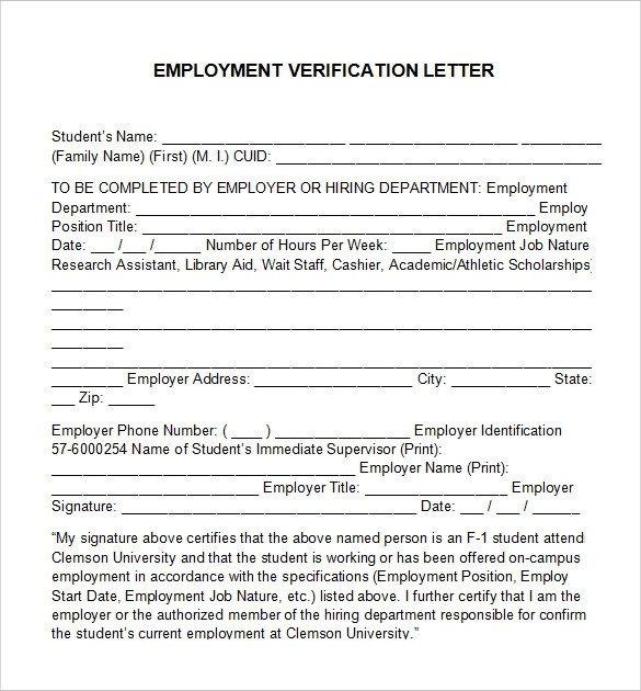 Employee Verification Letter Template Employment Verification Letter 14 Download Free