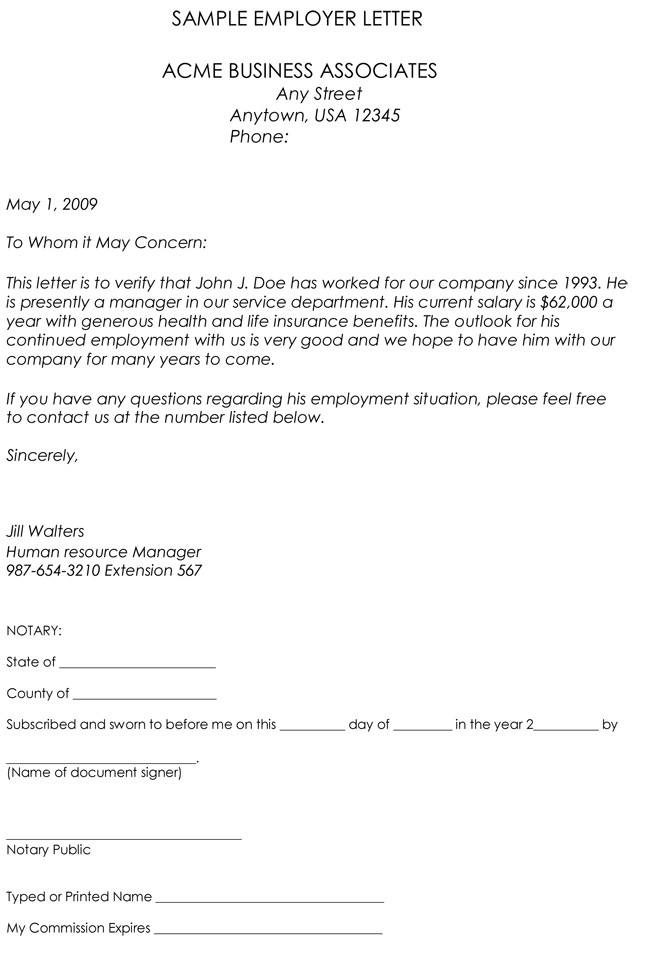 Employee Verification Letter Template Employment Verification Letter 8 Samples to Choose From
